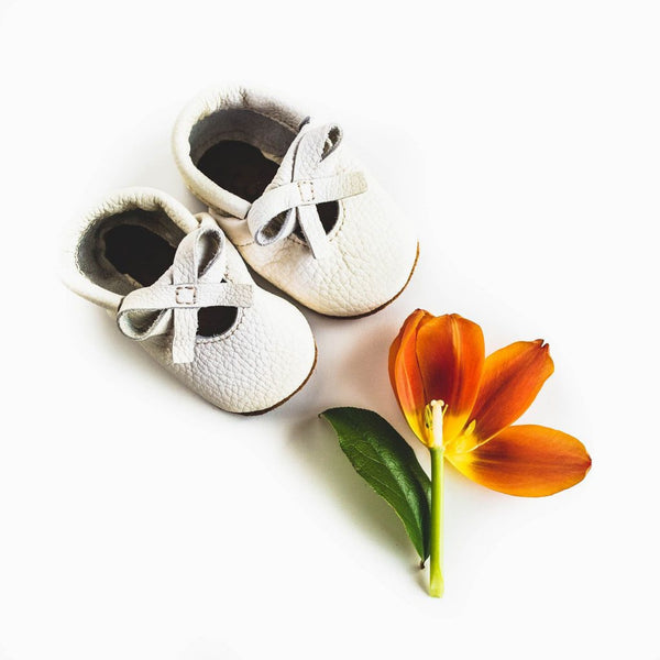 Soft Leather Baby and Toddler Sandal with Ballet Bow Detail in Ivory