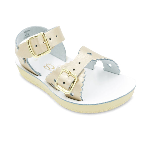 Saltwater Water-Friendly Leather Toddler Sandals | Sweetheart| White, Purple, Pink, Gold