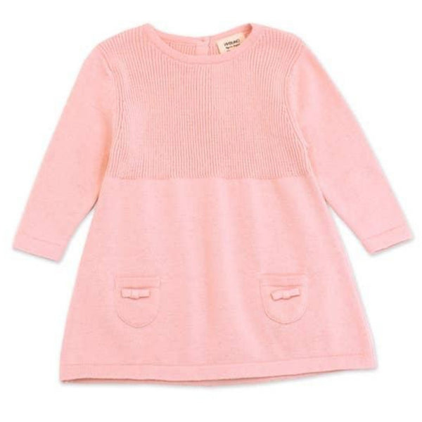 Organic Cotton A-Line Long Sleeve Sweater Knit Baby Dress | Blush