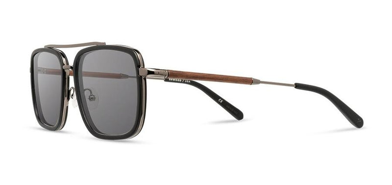 Grant: Matte Black & Black Chrome // Walnut - Grey Polarized