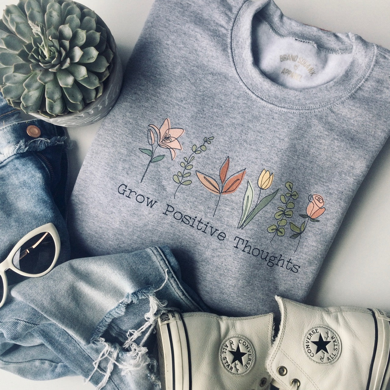 Grow Positive Thoughts Graphic Sweatshirt - Brand Squawk Apparel