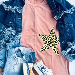 Starlight Leopard Graphic Long Sleeve Shirt - Brand Squawk Apparel