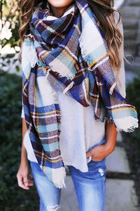 Plaid Ripped Hem Scarf