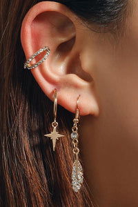 Crystal Stars Feather Earrings