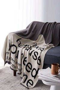Letter Print Color Block Blanket