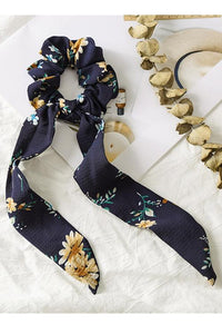 Floral Print Ribbon Scrunchie
