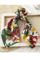 Leaf Print Ribbon Scrunchie