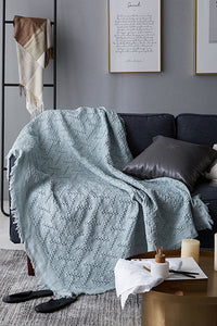 Simple Knit Tassels Blanket