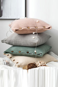 Button Yarn Knitting Cushion Cover