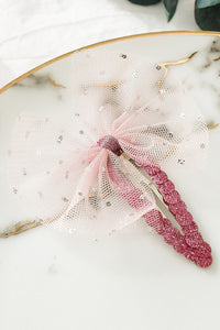 Gauze Sequin Bow Hair Clip