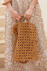Awulook Wood Beaded HandBag
