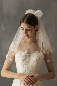 Two-Tier Cut Edge Pearl Voile