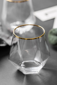 Gold Edge Rhombus Glass Cup
