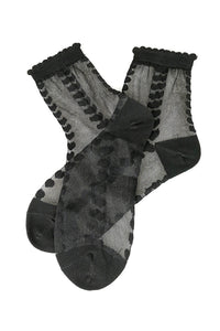 Heart Pattern Scallop Trim Mesh Socks