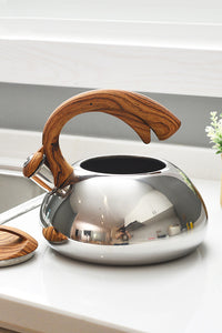 3L Wood Half Handle Stainless Steel Kettle