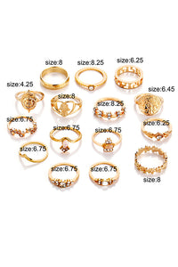 Heart Flower 15pcs Ring Set