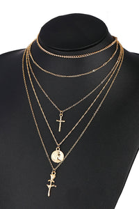 Cross Rose Layer Necklace