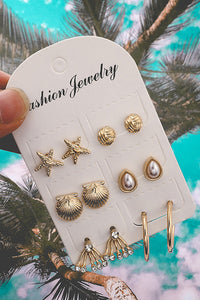 Shell Starfish Earring Set