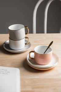 Simple Coffee Cup With Saucer Spoon