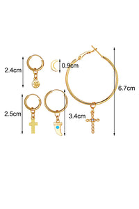 Moon Cross Earring Set