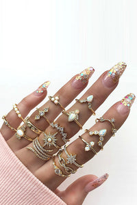 Boho Rhinestone 17 Ring Set