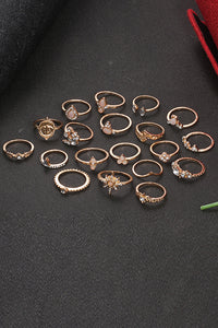 Rhinestone Drop 19 Ring Set
