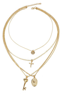 Cross Key Layer Necklace