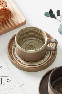 Crude Pottery Coffee Cup With Plate