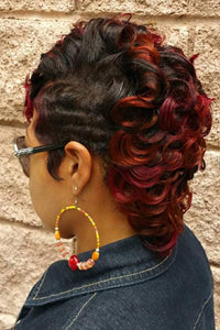 Curly Short Ombre Wine Red Blonde Wig