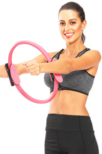 "Pilates Resistance Ring 14"" Dual Grip Handles for Toning and Fitness"