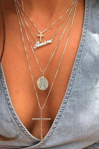 Letter Cross Layer Necklace