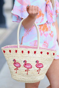 Flamingo Straw Bag