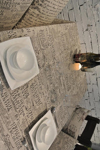 Newspaper Burlap Table Cloth