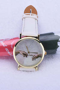 Hand Print Leather Watch