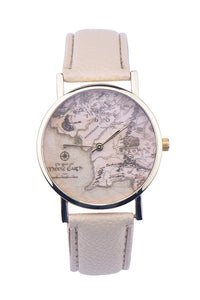 Map Leather Watch