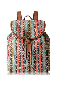 Print Buckle Canvas Backpack