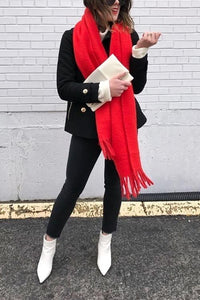 Red Tassels Scarf