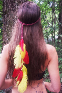 Red Yellow Feather Headband