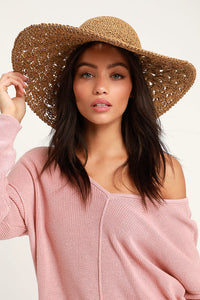 Boldly Brilliant Woven Brown Straw Hat
