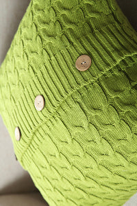 Knit Button Cushion Cover