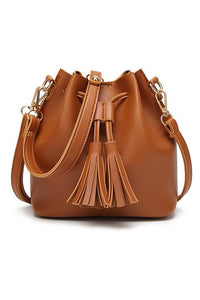 Tassel Drawstring Mini Bucket Bag