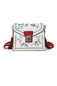 Embroidery Rivet Square Bag