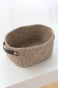 Leather Handle Cotton Rope Storage Basket