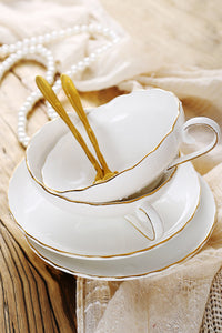 Gold Edge Coffee Cup Saucer Set