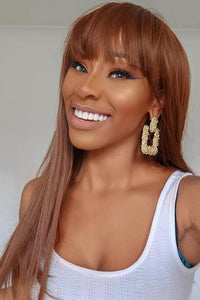 Light Brown Full Fringe Straight Long Wig