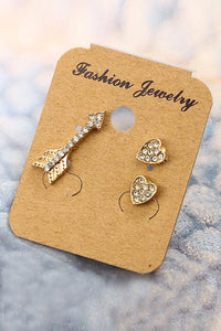 Heart Arrows Earrings Set