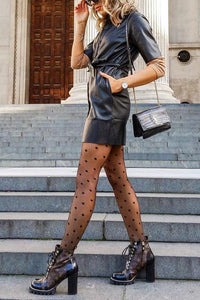 Dot Print Mesh Mesh Stockings