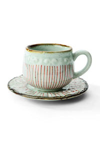 Hand Painted Coffee Cup With Saucer