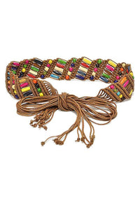 Ethnic Colourful Wooden Bead Belts
