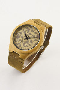 Print Wood Leather Watch